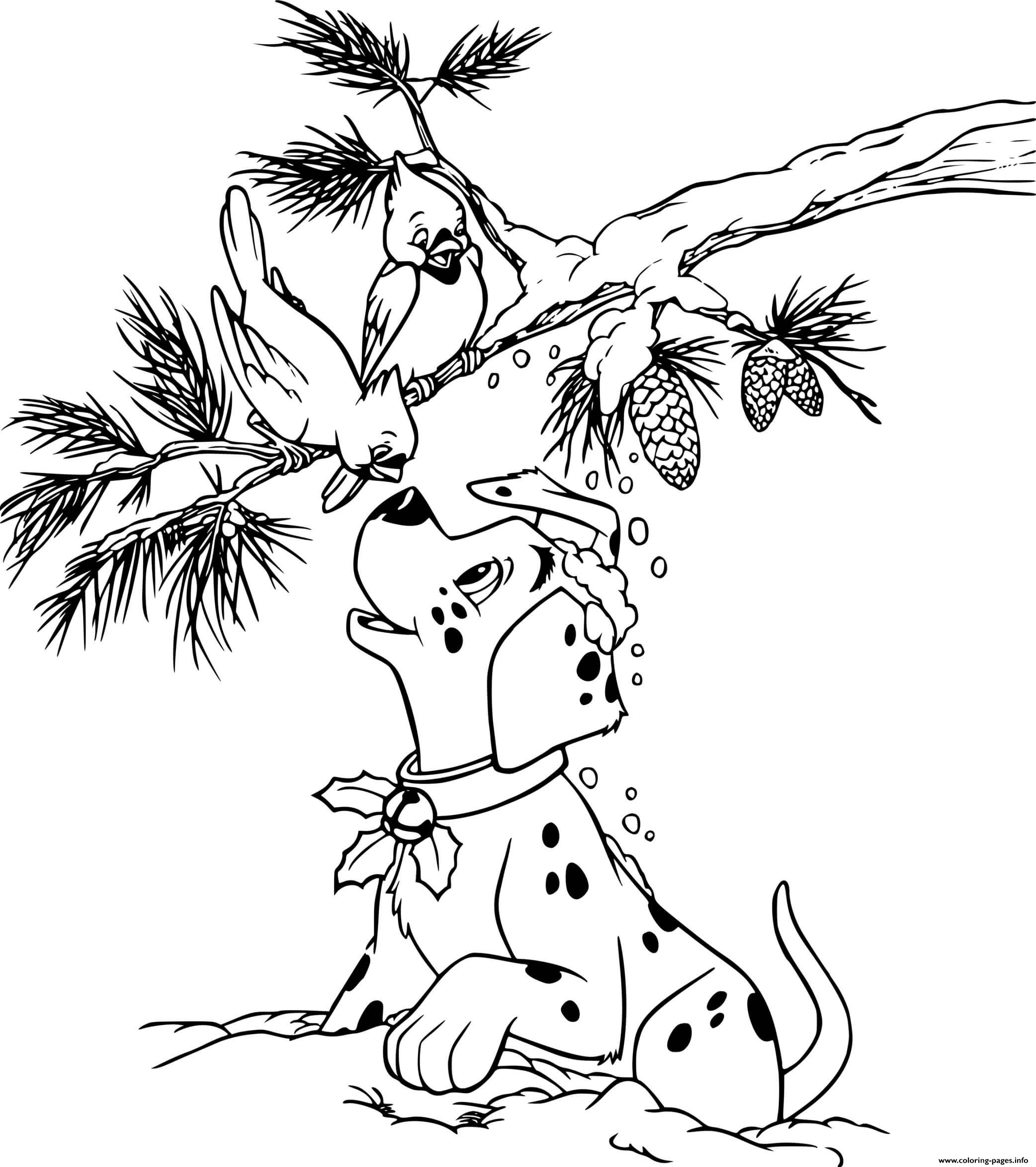 Dalmatian Puppy Greeting Birds Coloring Pages Printable