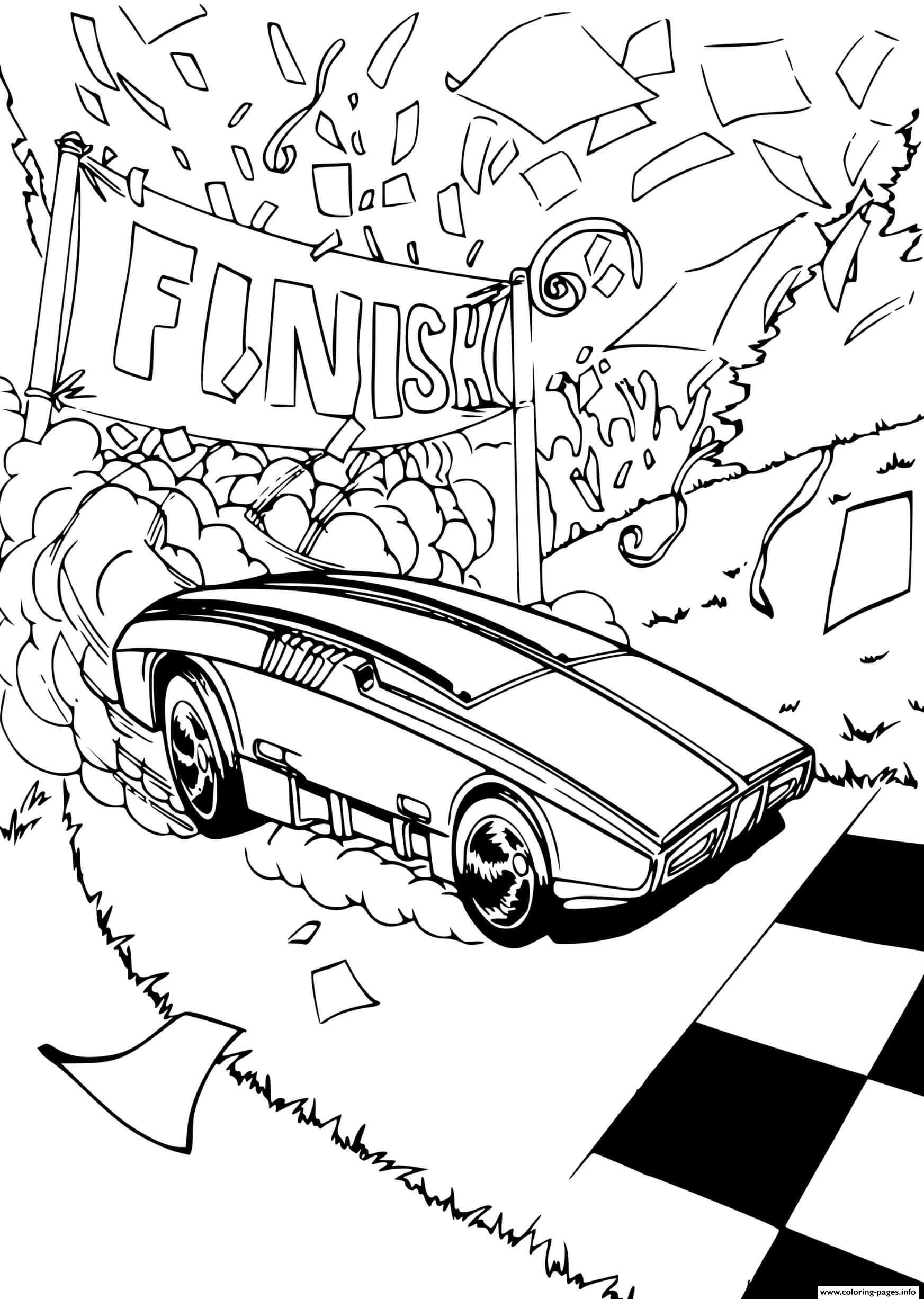 hot wheels cars finish coloring pages printable