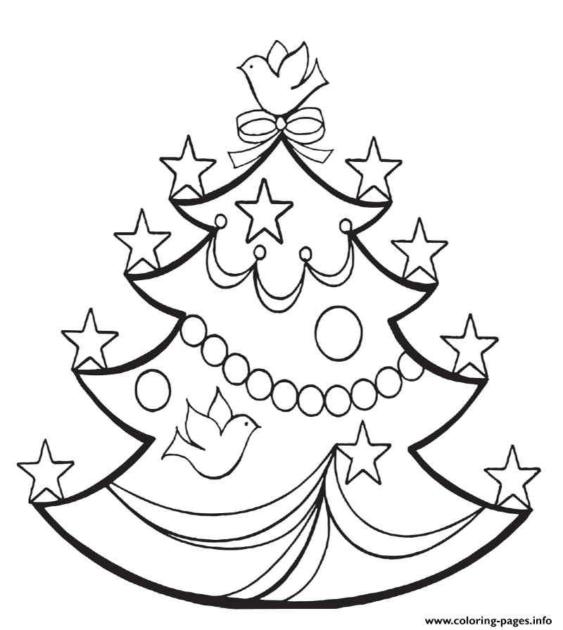 Christmas Tree With Stars coloring pages