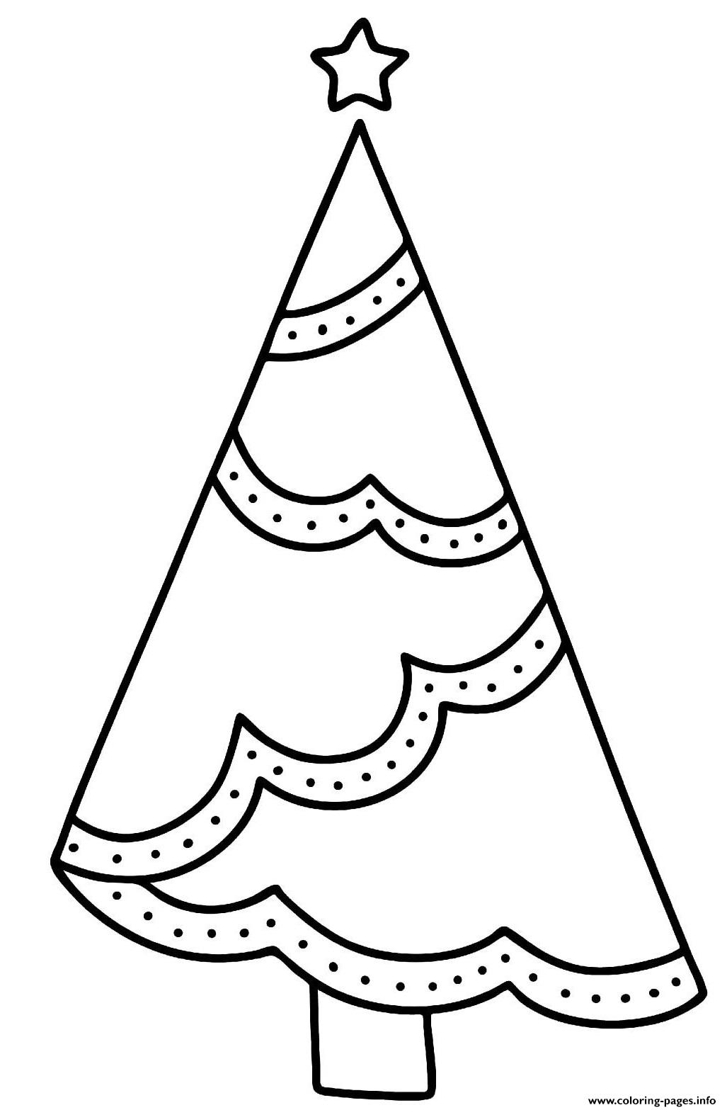 Simple Xmas Tree Design With Easy Decorations To Color coloring pages