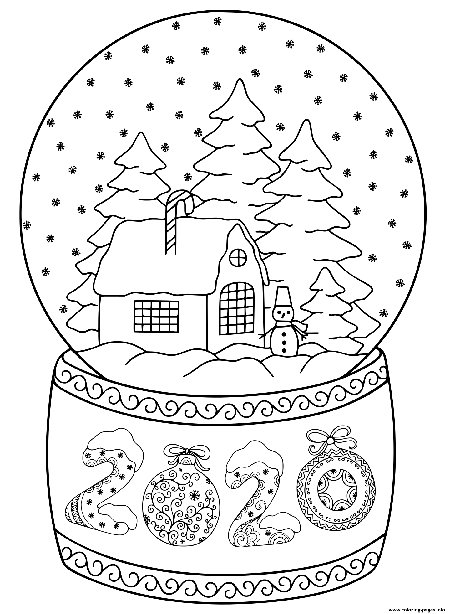 2020 Happy New Year Snow Globe House Coloring Pages Printable