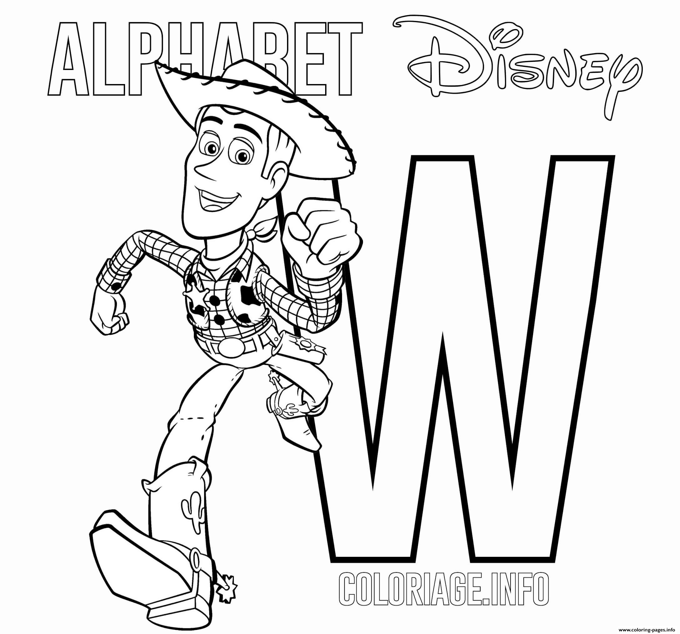 Letter W Woody Alphabet Disney Coloring Pages Printable