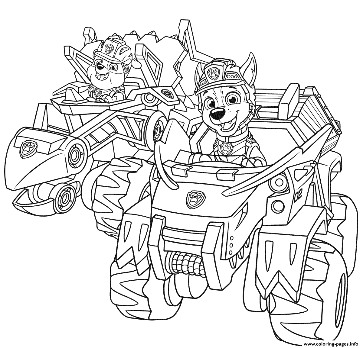 Paw Patrol Dino Rescue Cars Coloring Pages Printable