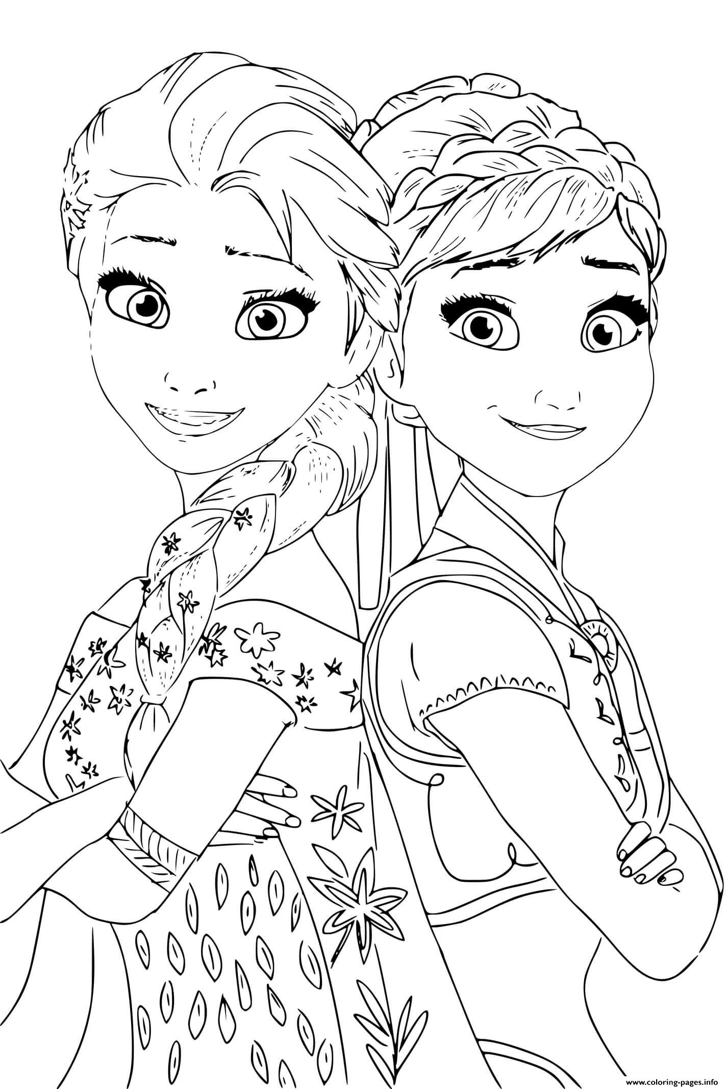 Elsa Anna Princess From Frozen 2 Coloring Pages Printable