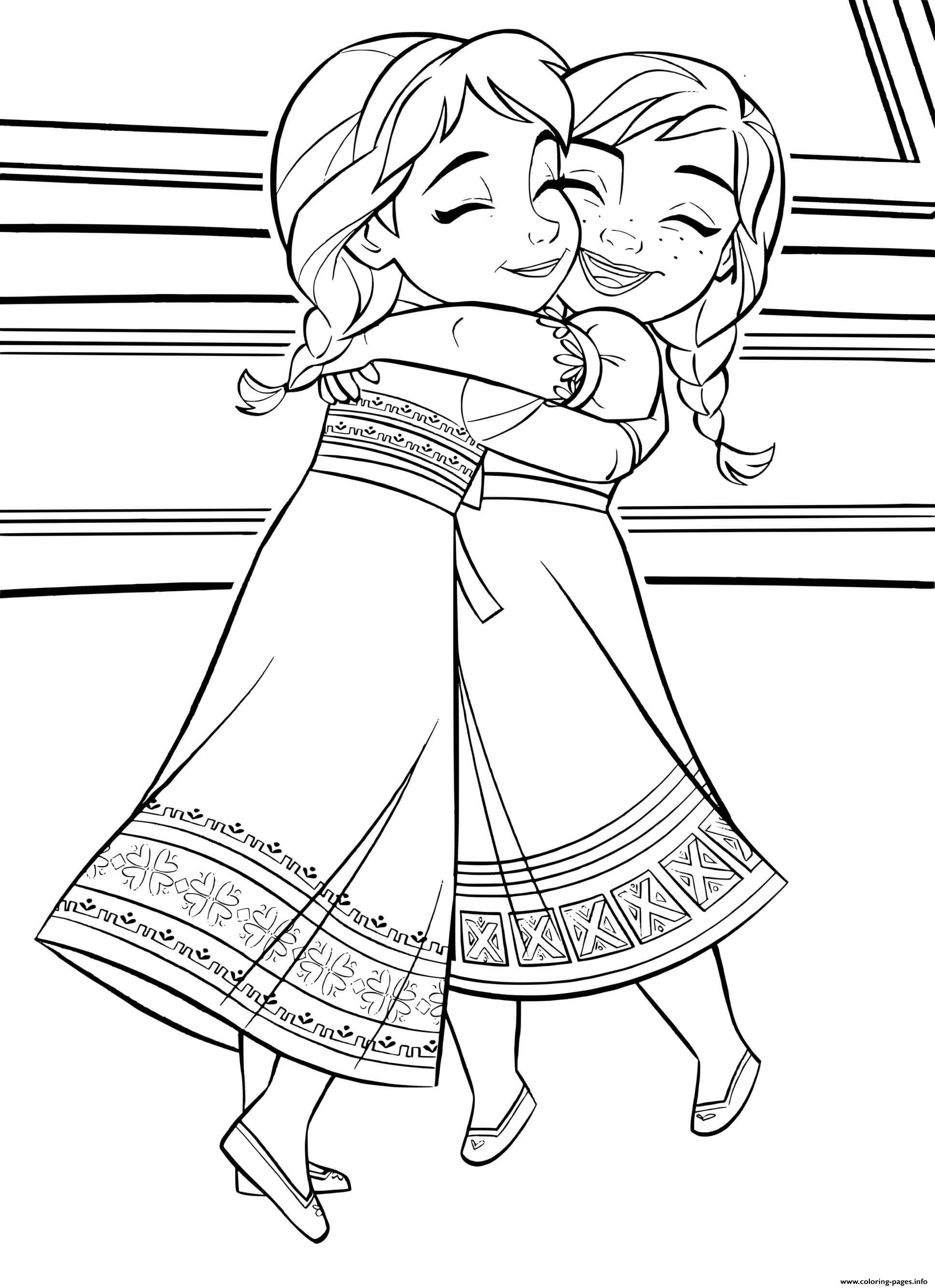 Baby Kids Elsa Anna Frozen 2 Coloring Pages Printable