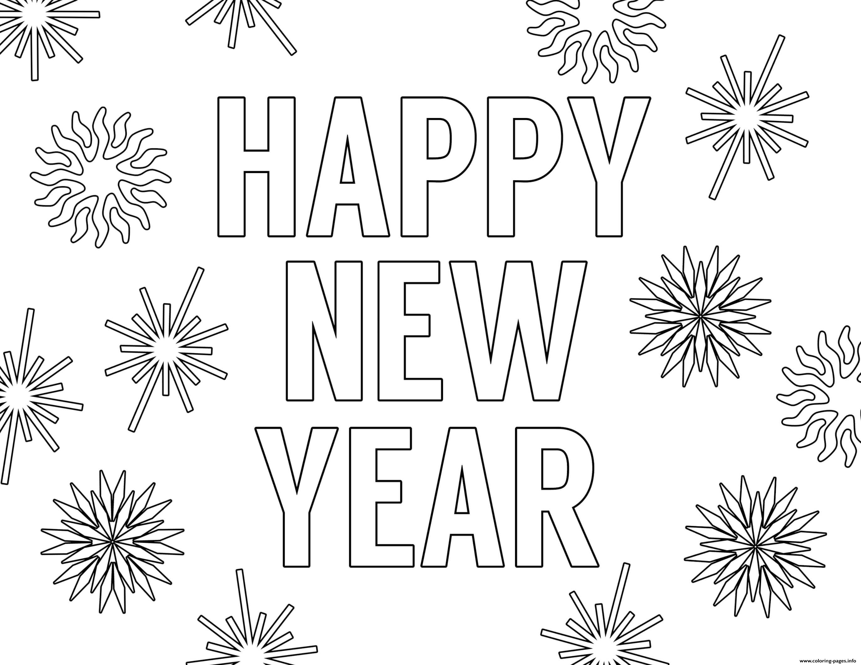 Happy New Year Love And Health Coloring Pages Printable