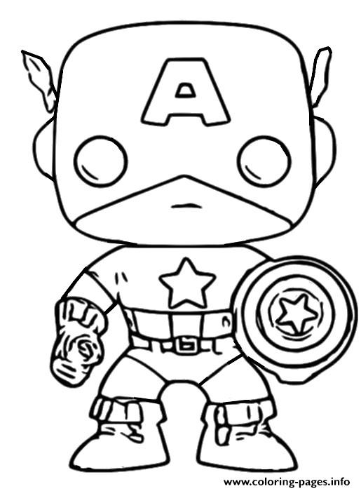 Funko Pop Marvel Captain America Coloring Pages Printable
