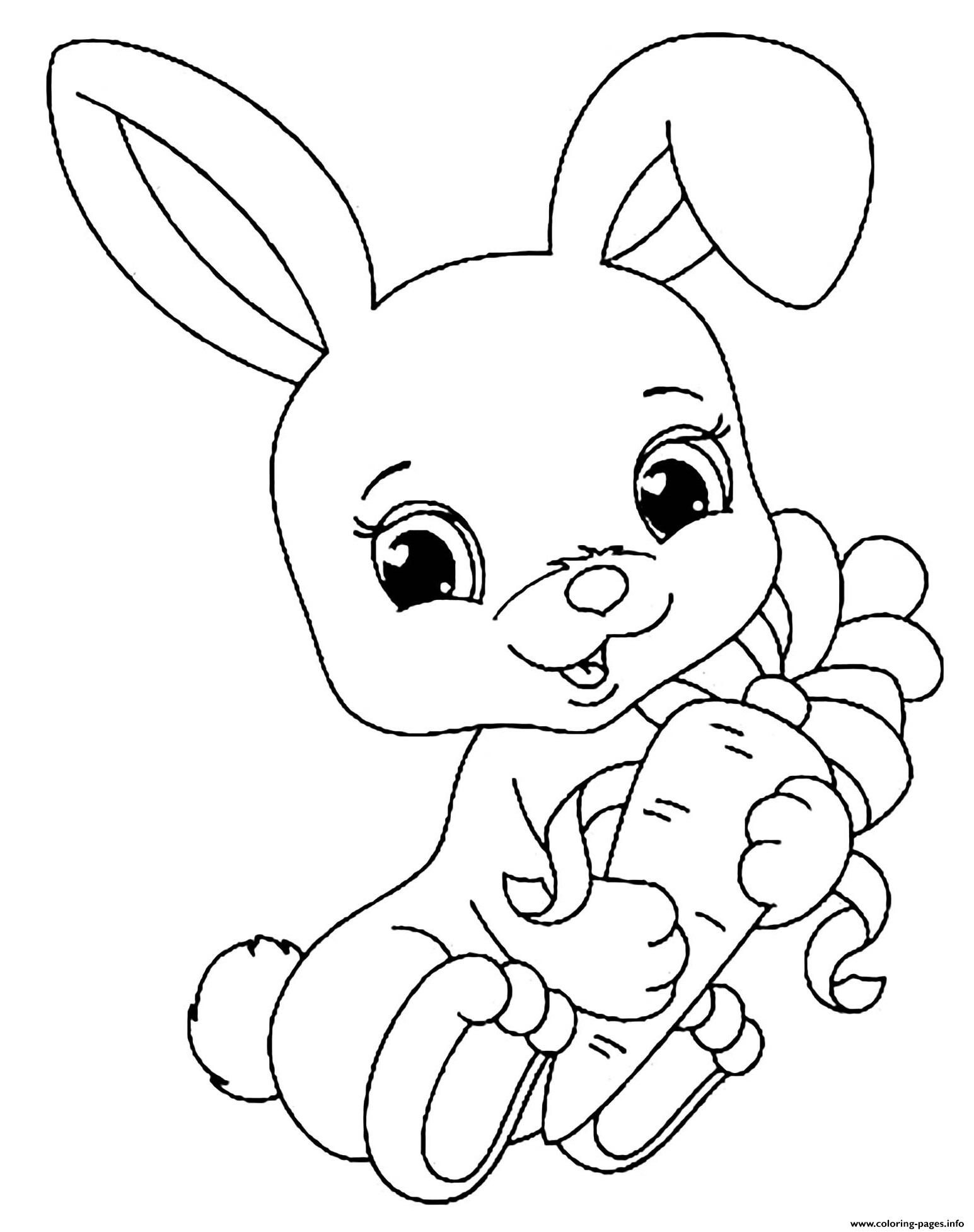 Baby Rabbit With Carrot Coloring Pages Printable