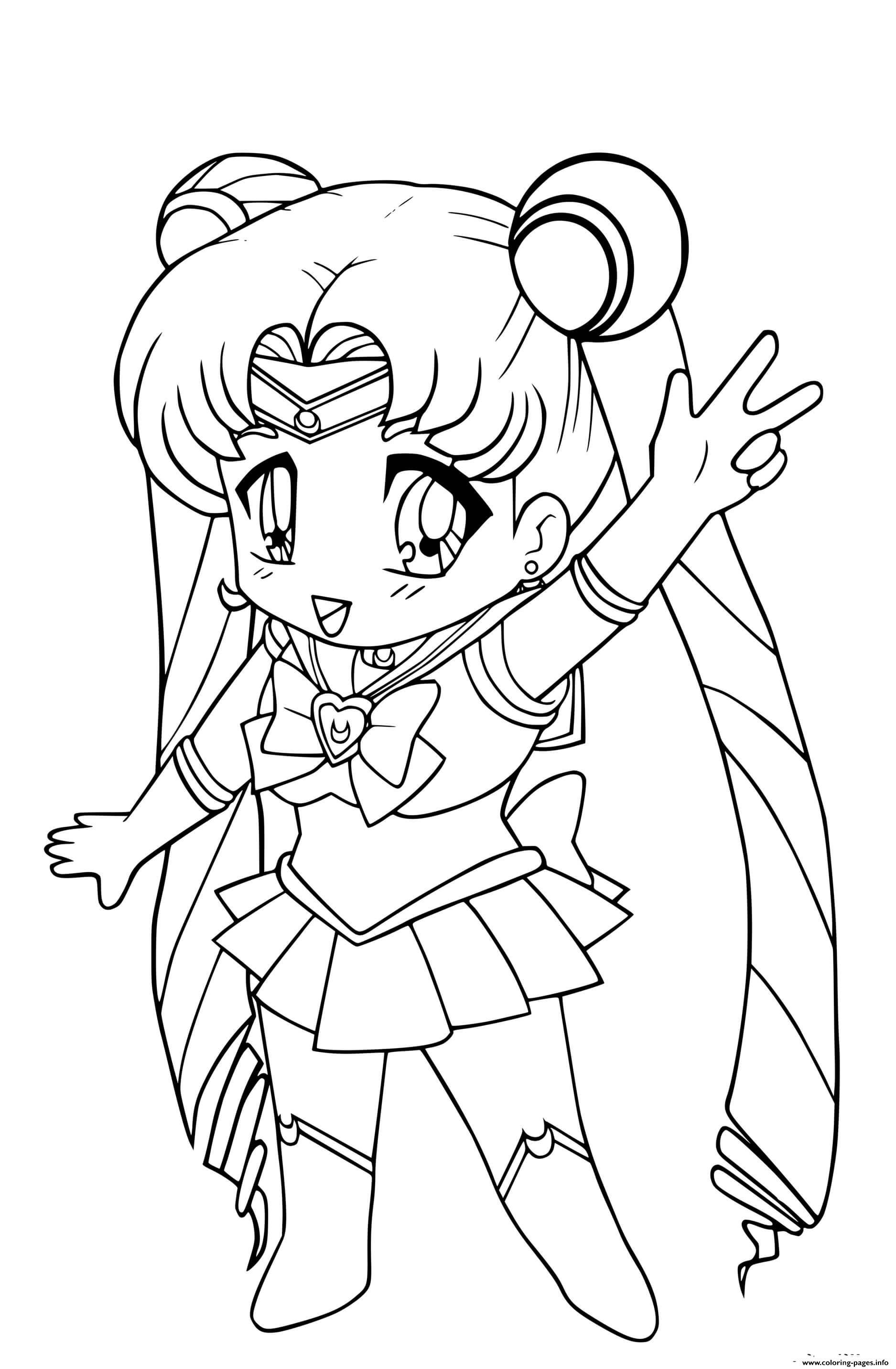 Chibi Sailor Moon Kawaii Coloring Pages Printable
