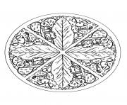 free mandala to color leaves
