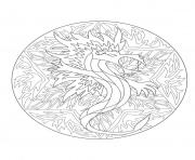 Printable mandala dragon 5  coloring pages