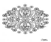 Print adult flowers mandala  coloring pages