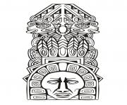 Printable adult totem inspiration inca mayan aztec 5 coloring pages