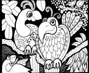 Printable adult africa parrots coloring pages