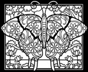 adult difficult butterflies black background coloring pages