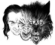 Printable adult transformation loup garou coloring pages