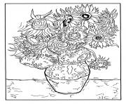 Printable adult vincent van gogh 12 tournesols dans un vase coloring pages