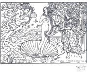 Printable adult boticelli the birth of venus coloring pages