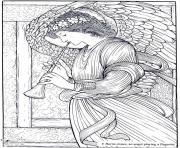 Printable adult burne jones an angel playing a flageolet coloring pages