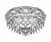 Printable adult lion head 2 coloring pages