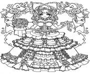 Printable adult back to childhood manga girl dress coloring pages