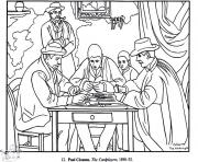 Printable adult paul cezanne card players coloring pages