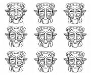 Printable adult africa masks identicals coloring pages