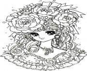 Printable adult back to childhood manga girl flowers coloring pages