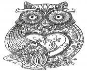 Printable adult big owl coloring pages