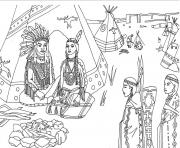 Printable adult native americans indians sat front of tipi by marion c coloring pages