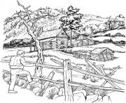 Printable adult snowy cabins coloring pages
