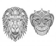 Printable adult africa heads monkey lion coloring pages