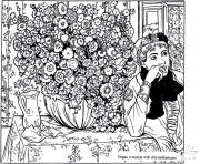 Printable adult degas woman with chrysanthemums coloring pages
