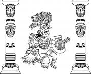 Printable adult quetzalcoatl and totems coloring pages