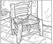 Printable adult van gogh la chaise et la pipe coloring pages