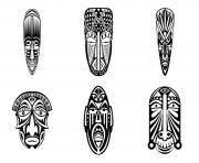 Printable adult 6 african masks simples coloring pages