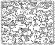 adult christmas snowman coloring pages