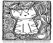 Printable adult difficult cute cat coloring pages