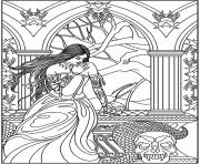 Printable adult fantasy woman skulls snake coloring pages