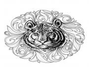 adult tiger leaves framework coloring pages