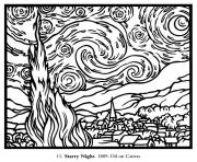 Printable adult van gogh starry night large coloring pages