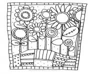 Printable adult simple flowers coloring pages