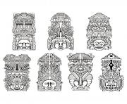 Printable adult totems inspiration inca mayan aztec coloring pages