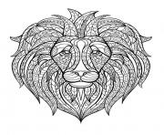 Printable adult lion head coloring pages