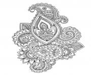 Printable adult paisley cashemire coloring pages