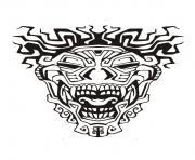 Printable adult mask inspiration inca mayan aztec 3 coloring pages