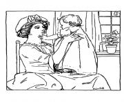 adult vintage drawing mother and girl coloring pages