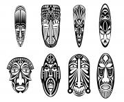 Printable adult 12 african masks coloring pages
