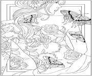 Printable adult back tattooed woman coloring pages