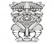 Printable adult totem inspiration inca mayan aztec 6 coloring pages